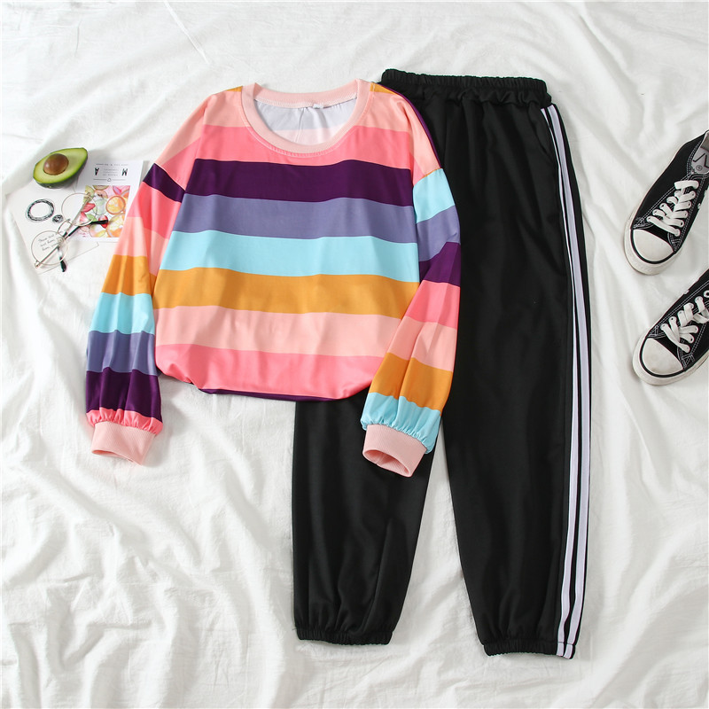 9079 # [Photo Shoot] Supply Of Goods Stability Lower Rack 2020 Spring Summer Fashion & Sports WOMEN'S Suit Article Rainbow