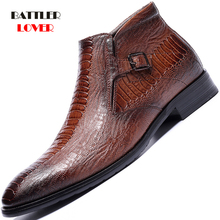Mężczyźni skóra krokodyla sukienka buty na zamek błyskawiczny boczne biznes oksfordzie dla mężczyzn formalne biznes klasyczne zimowe ciepłe obuwie z polaru tanie tanio BATTLERLOVER Skóra Split CN (pochodzenie) Stałe NX290 Runa Szpiczasty nosek RUBBER Krótki pluszowe Pasuje prawda na wymiar weź swój normalny rozmiar