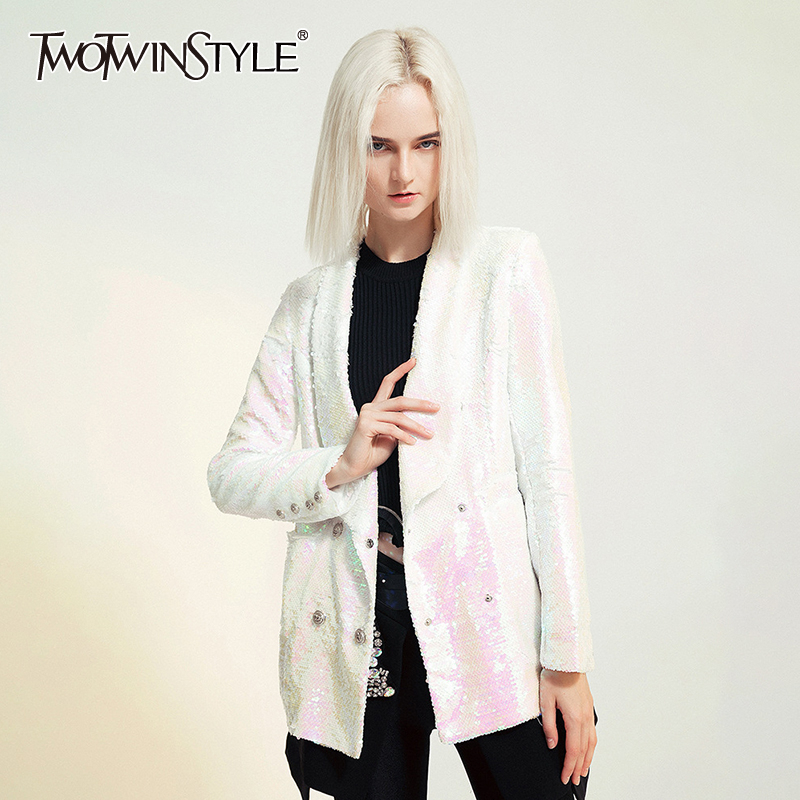 TWOTWINSTYLE Patchwork Sequin Blazer For Women Lapel Collar Long Sleeve Double Breasted Slim Female Suit 2019 Autumn Fashion New