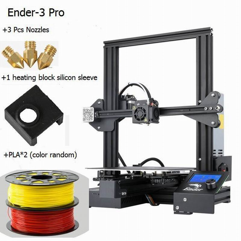 CREALITY 3D Printer Ender 3/Ender 3X/Ender 3pro Upgraded Tempered Glass gift nozzles and Heating block silicone sleeve+PLA|3D Printers| |  - title=