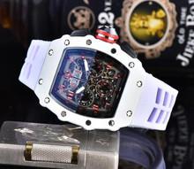 RM luksusowe zegarki kwarcowe zegarek męski automatyczny projektant męski zegarek na rękę wodoodporny Reloj Hombre tanie tanio simple QUARTZ RUBBER 10Bar CN (pochodzenie) Sprzączka SZAFIROWY KRYSZTAŁ 9 5inch bez opakowania Silikon Tylna część