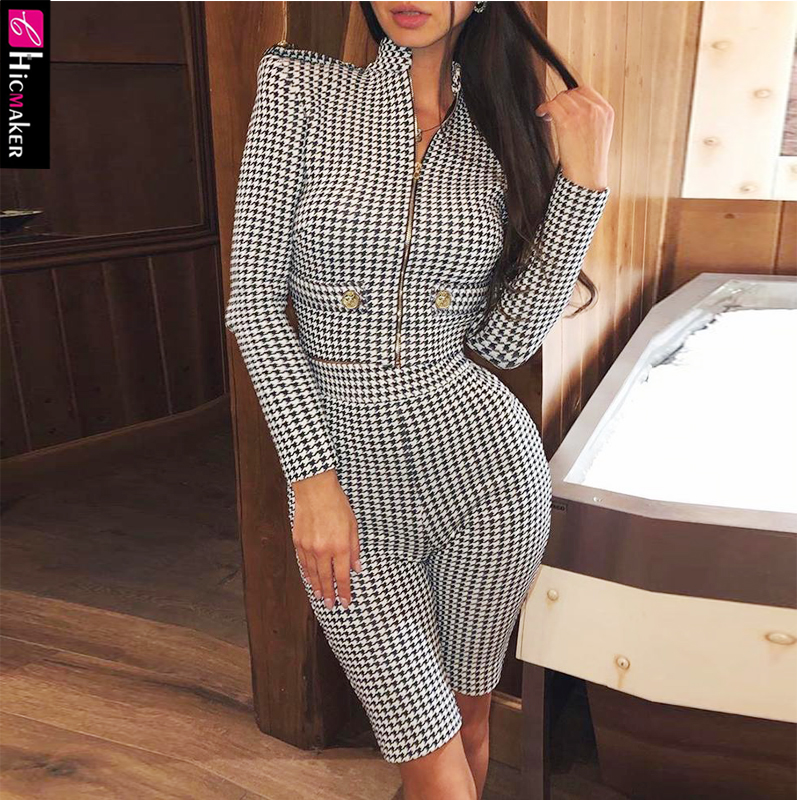 Houndstooth Padded Shoulder Zipper Coat & Shorts Sets Women Two Piece Matching Suit Office Lady Elegant Suit