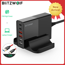 BlitzWolf BW-S16 75W Dual 6 Port USB PD QC 3.0 Phone Charger Type C Chargers Accessorie Fast Charging for iPhone 12 Mini Pro Max
