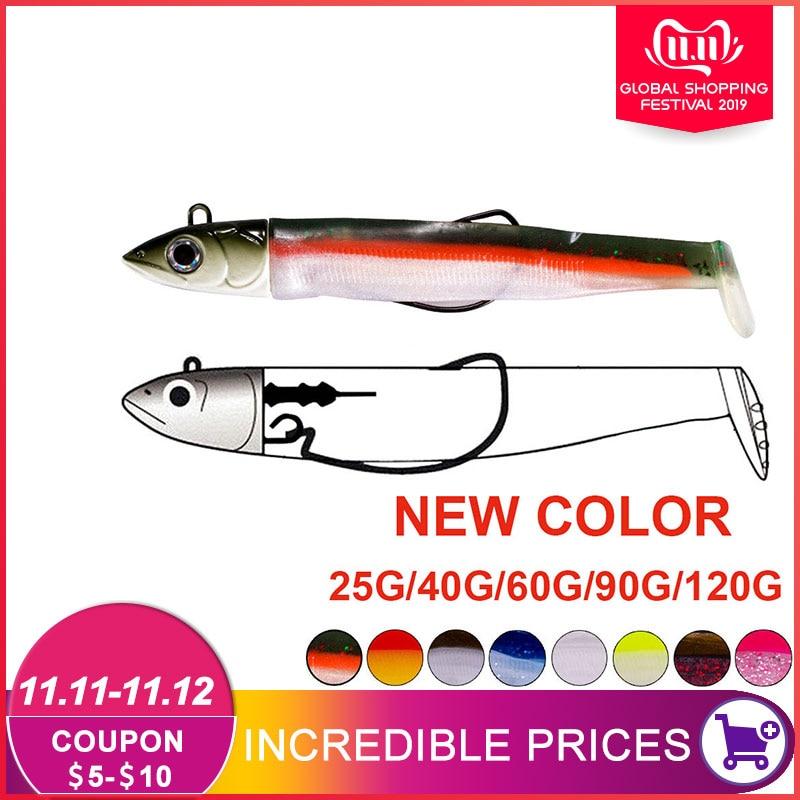 Hunthouse  black minnow 25g 40g 60g 90g 120g easy shiner fishing lure soft lead jig bait bass pike leurre souple
