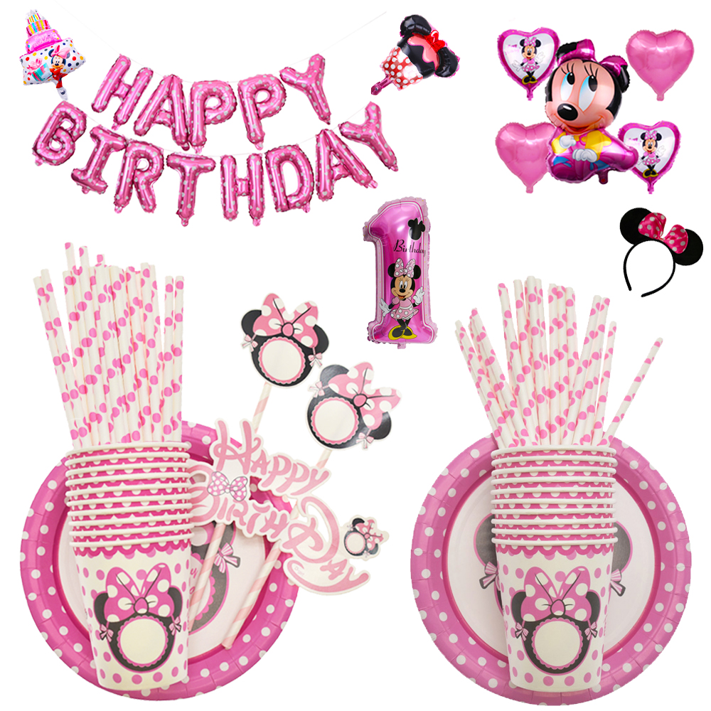 Cartoon Minnie Mouse Birthday Party Decorations Kids Disposable Tableware Plates Cups Baby Shower Birthday Party Supplies