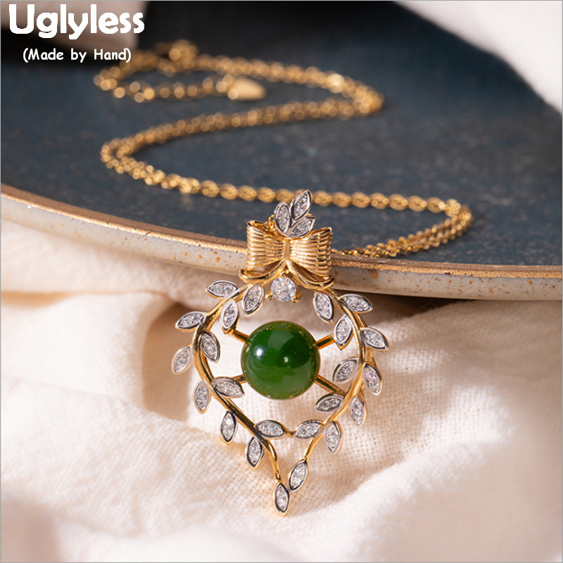 Pendentifs guirlande Olive cristal sans Uglyless pour femmes Jade naturel colliers boucles d'oreilles ensembles réel 925 argent Bow bijoux ensembles P767