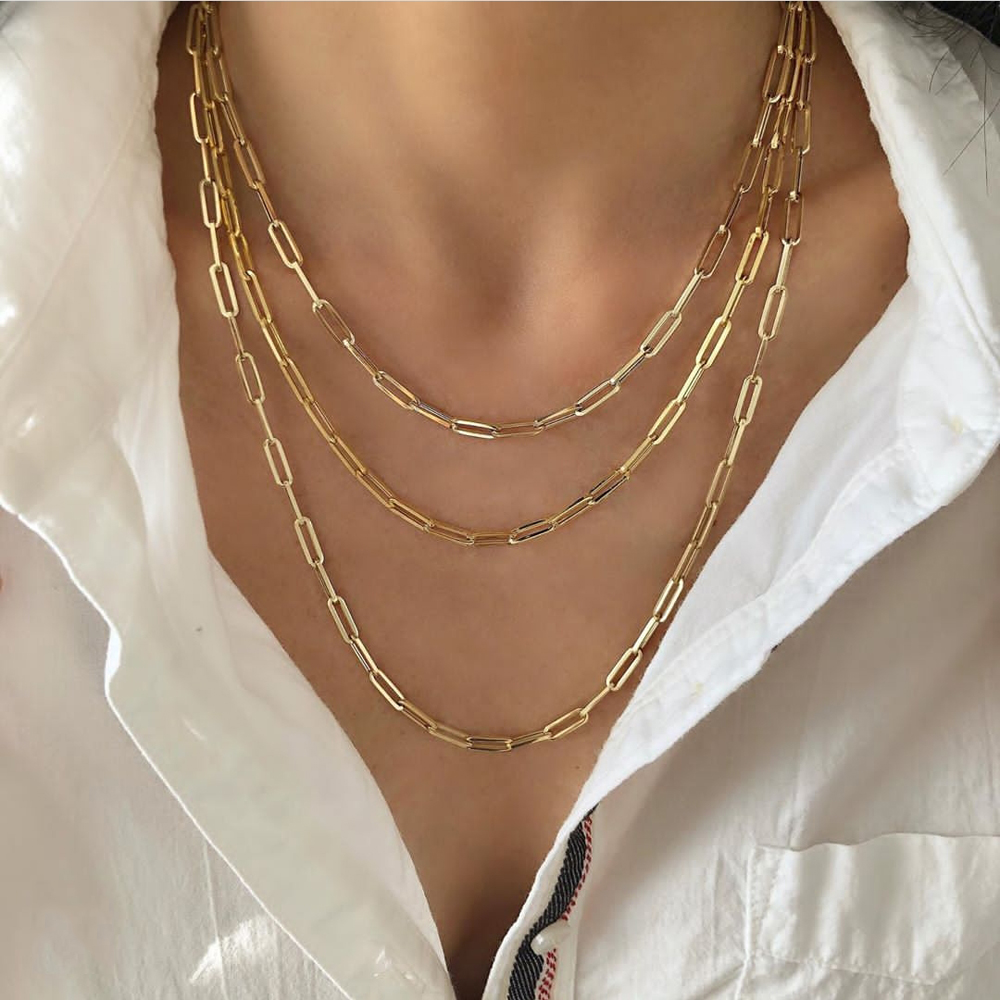 3 Layered Punk Link Chain Necklace men women Maxi Statement Party Jewelry Rectangle Link Chain Paperclip Chain Necklace