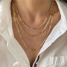3 camadas punk link corrente colar masculino feminino maxi declaração festa jóias retângulo link corrente paperclip corrente colar