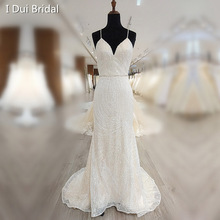 Luxury Sheath Wedding Dress with Spaghetti Strap Sequin Detail Illusion Keyhole Back Crystal Belt Bridal Gown Factory
