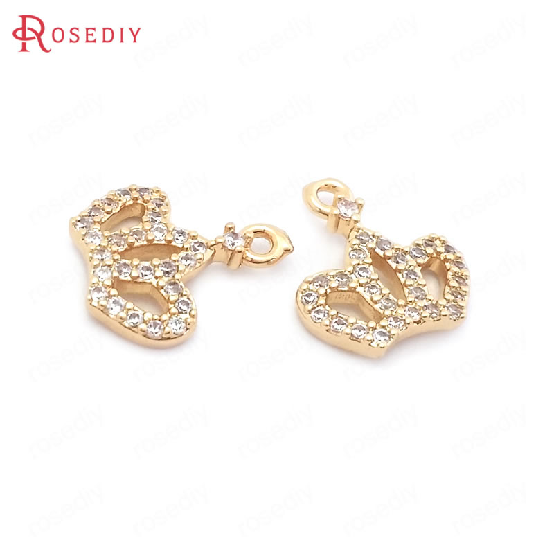 (38563)6PCS 11x10MM 24K Champagne Gold Color Brass and Zircon Crown Charms Pendants Jewelry Making Supplies Findings Accessories