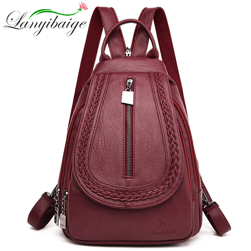 Women Travel Backpack High Quality Women Leather Backpack For Teenage Girls Arge Capacity Fashion Schoolpacks Mochila Sac A Dos