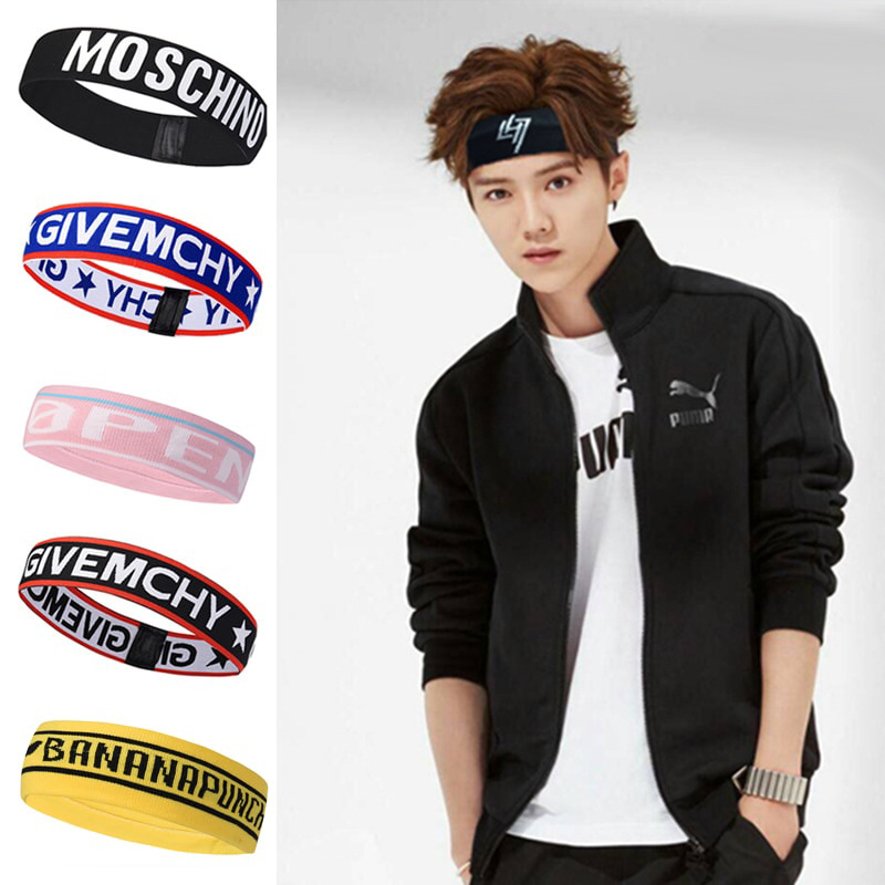 Sports Headband Elastic Letters Sweat Scarf High Quality Fabric Outdoor Satin Scrunchies Sports For Young Men And Women Patterns