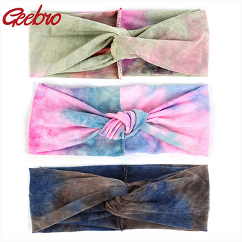 Geebro New Fashion Women Girls Cotton Tie Dye Headband Female Bohemian Style Bows Hairbands Beach Spring Summer Hair Accessories