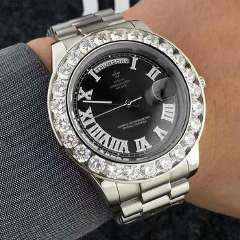 LGXIGE Men's Big Diamond Luxury Roman Numbers Stainless Steel Calendar Date Display Waterproof Watches 5