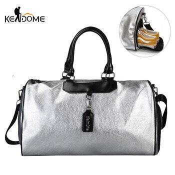 Silver Sports Bag Lady Luggage Bag in Travel Bags with Tag Duffel Gym Bag Leather Women Yoga Fitness sac de sport Big XA806WD