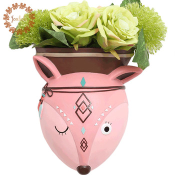 Creative Cute  Baby Room Decor Elegant Hand Painted Animal Wall Vase Decoration Hanging Vase Resin Home Wall Accessories