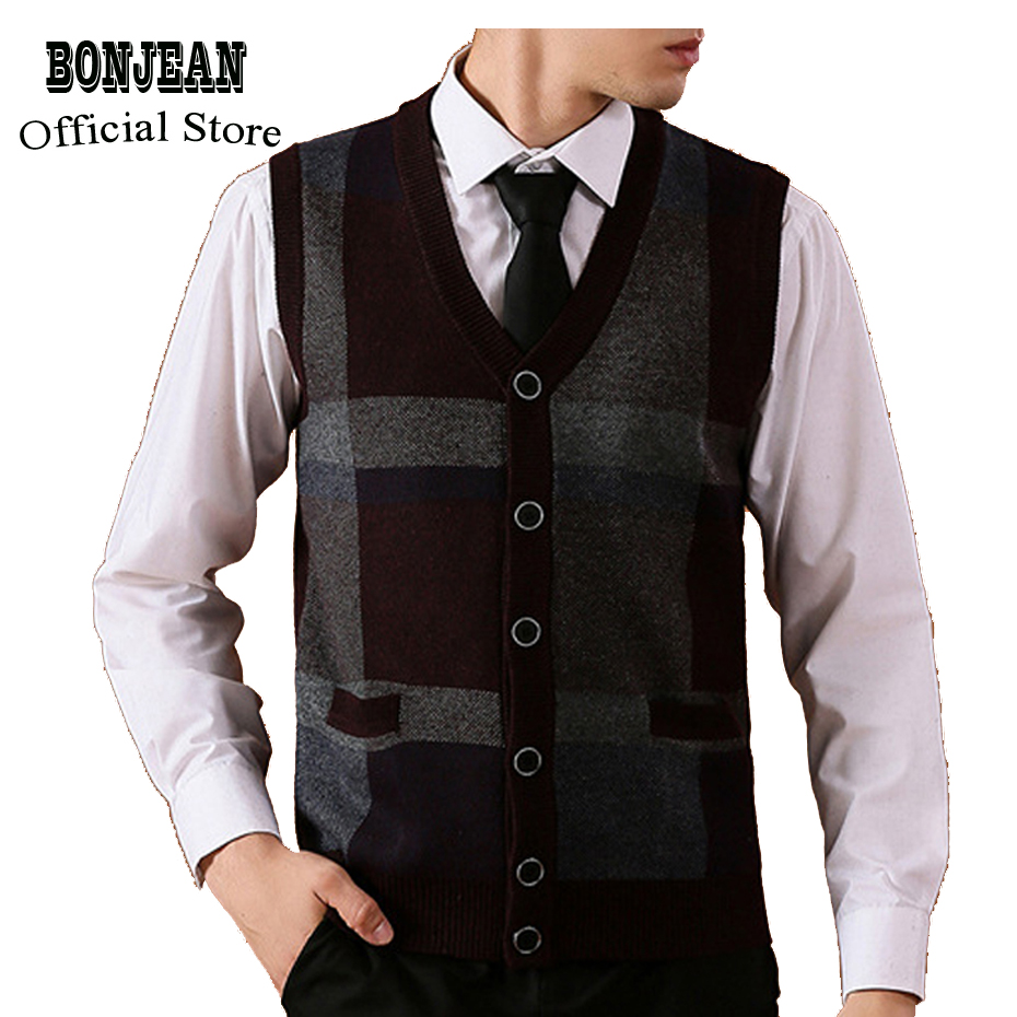 Asian Size Men's Sweater Cardigan Buttons Down Knit Jacket Sleeveless Basic Vest Striped Wool Vintage Casual Fashion K-12