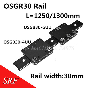30mm width  Aluminum roller linear guide rail external dual axis linear guide 1pcs OSGR30 L=1250/1300mm+1pcs OSGB30UU block
