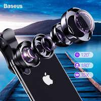 Baseus Telefon Objektiv Kit 120 HD Weitwinkel + 15X Super Makro Objektiv HD Kamera Lentes für iPhone Samsung Xiaomi zoom Objektiv Selfie Objektiv
