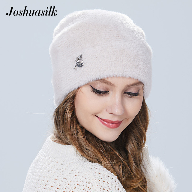 Joshuasilk  winter woman hat Faux fur and angora rabbits Soft and delicate Pendant decoration fashion For Girls 2