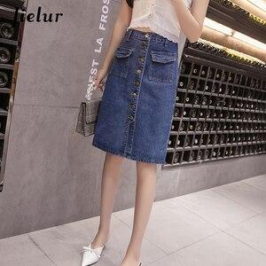 Image 4 - Jielur Hohe Taille Denim Röcke Plus Größe Buttons Taschen Klassische Jeans Rock für Frauen S 5XL Fashion Korean Elegante Jupe Femme