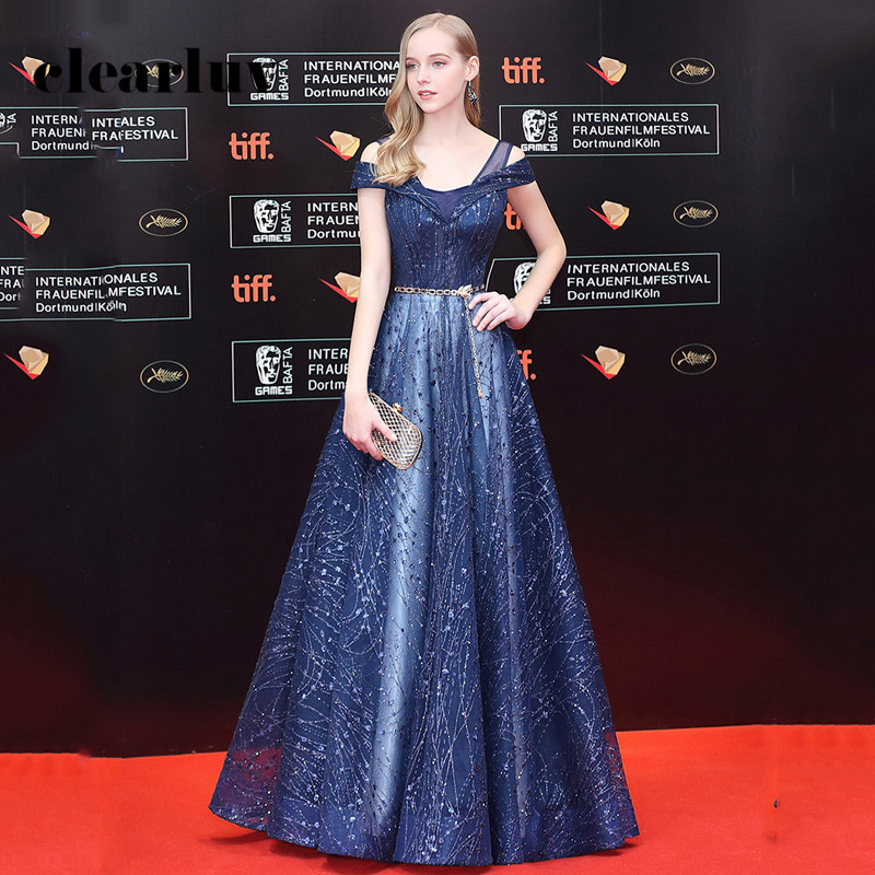 A-Line Long Evening Dresses For Women R246 V-Neck Sexy Party Gowns Navy Blue Robe De Soiree Short Sleeve Formal Dress 2020