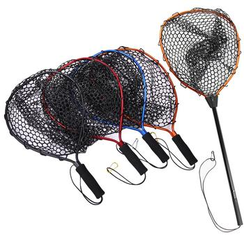 Fishing Net Aluminum Alloy Pole Retractable Fishing Net Telescoping Foldable Landing Rubber Net for Fly PVA Fishing Network image