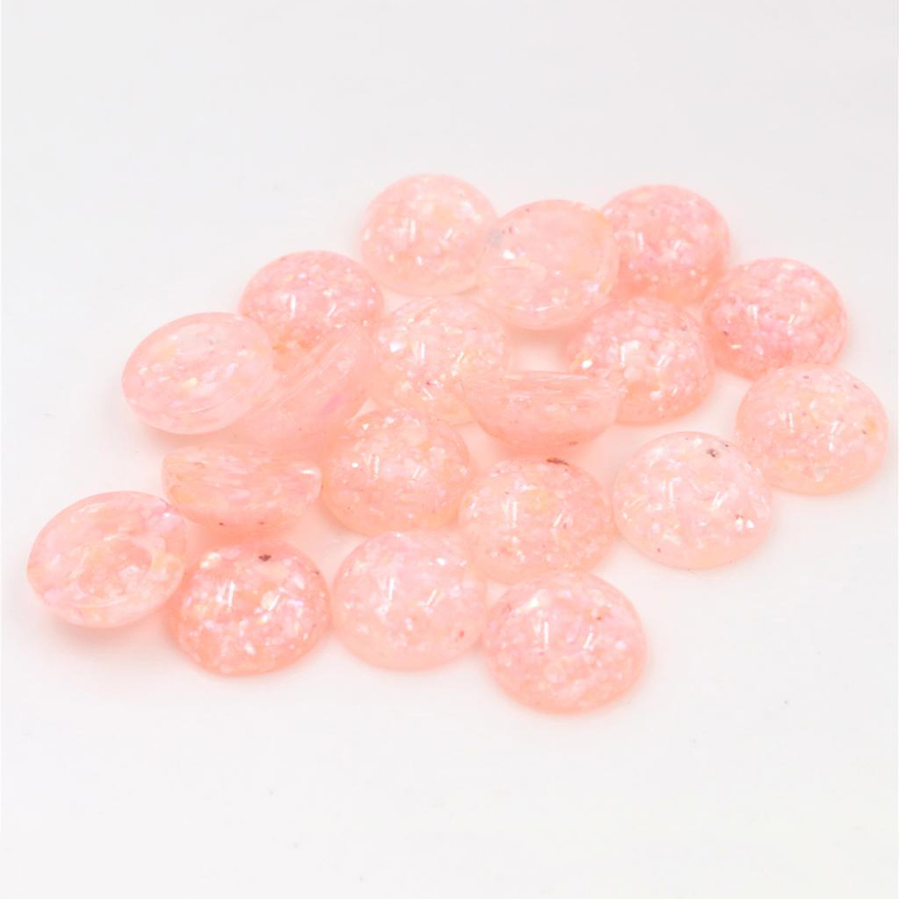 New Style 40pcs 12mm Pink Colors Built-in Real Shells Style Flat Back Resin Cabochons Fit 12mm Cameo Base Cabochons-W3-09