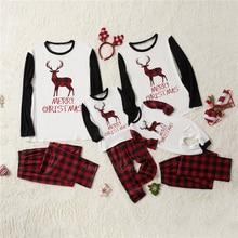 Рождественские пижамы Семейные Комплекты Одежда «Мама и я» красная Новогодняя одежда с принтом лося комплект из топа и штанов