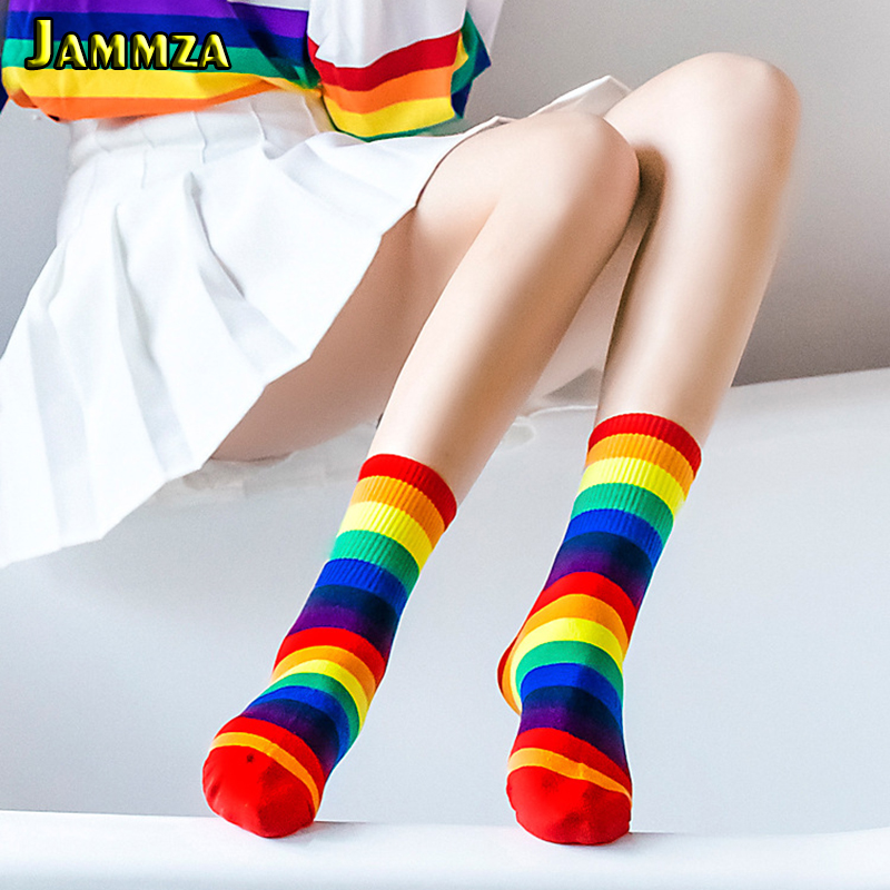 Cotton Fashion Women Rainbow Socks New Spring Colorful Stripe Vintage Harajuku Short Socks Ladies Sporty Black White Socks