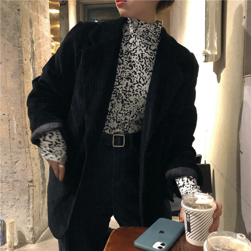 Fashion Corduroy Blazer Women Plaid Blazer and Jackets Work Office Lady Suit Single Breasted Business Female Blazer Coat Talever