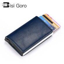 BISI GORO 2019 Vintage Unisex Credit Card Holder RFID Aluminium Business Crazy Horse PU Leather Travel Wallet