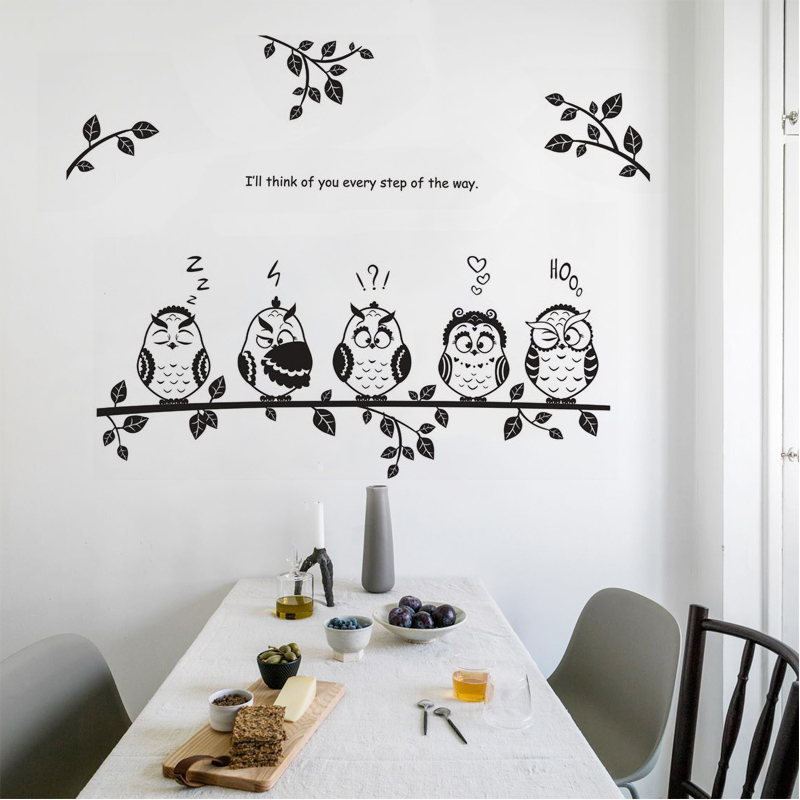 Black Cartoon Owl Wall Sticker Cute Five Birds On The Tree Decal Kids Room Bedroom Living Room Kitchen Bathroom Decor Wallpaper