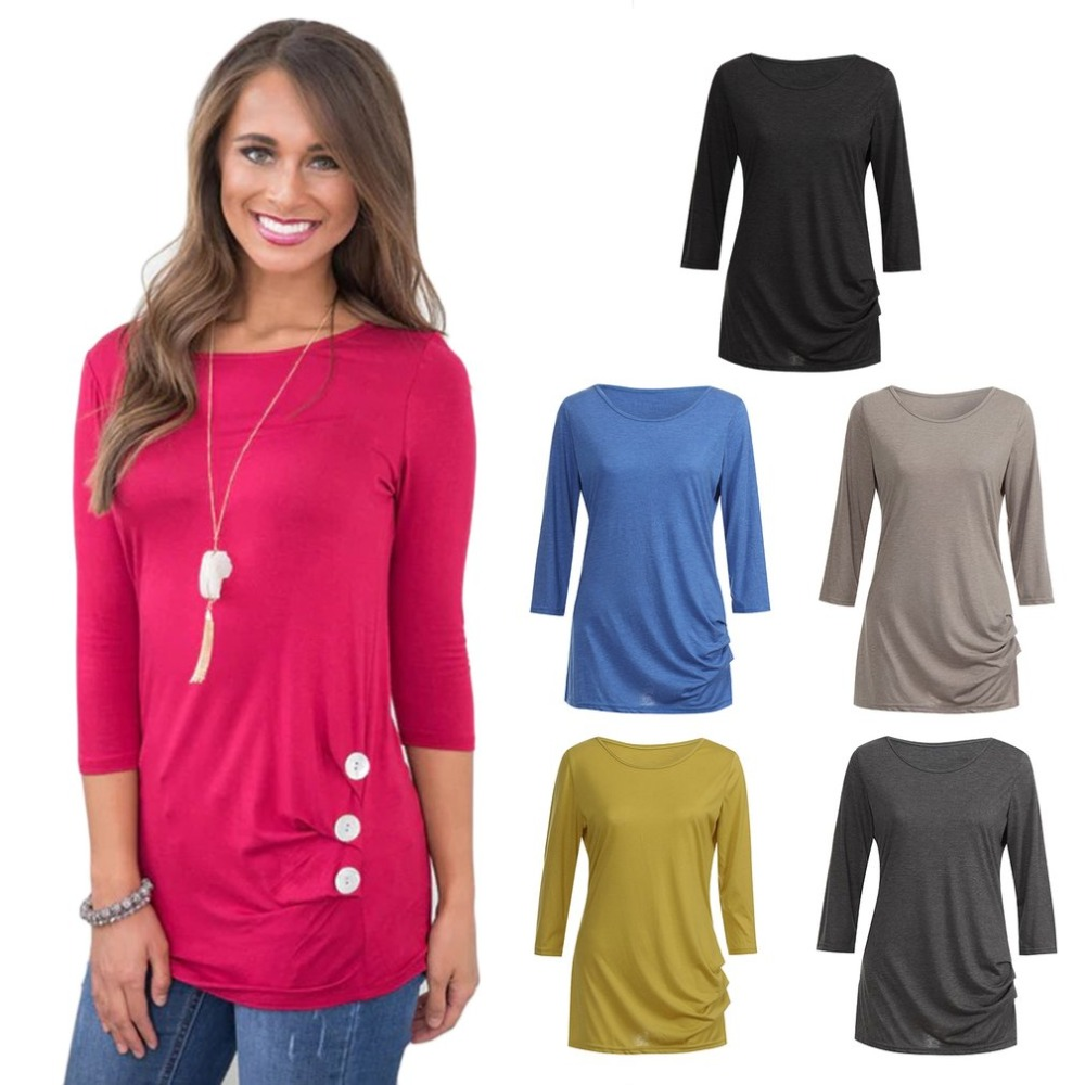 New Women Ladies Long Sleeve Plain T Shirt Casual Top Plus Sizes