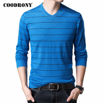 COODRONY Brand Sweater Men Spring Autumn V-Neck Pull Homme Cotton Wool Pullover Men Striped Knitwear Shirts Mens Sweaters C1047 coodrony brand wool sweater men streetwear fashion striped pull homme spring autumn casual knitwear v neck pullover shirts c1089