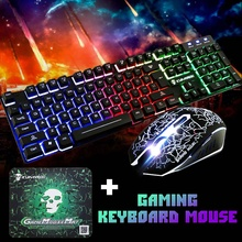 2020 LED Rainbow Backlight USB Ergonomic Wired Gaming Keyboard 2400DPI Mouse Mouse Pad Set Kit for PC Laptop Computer Gamer