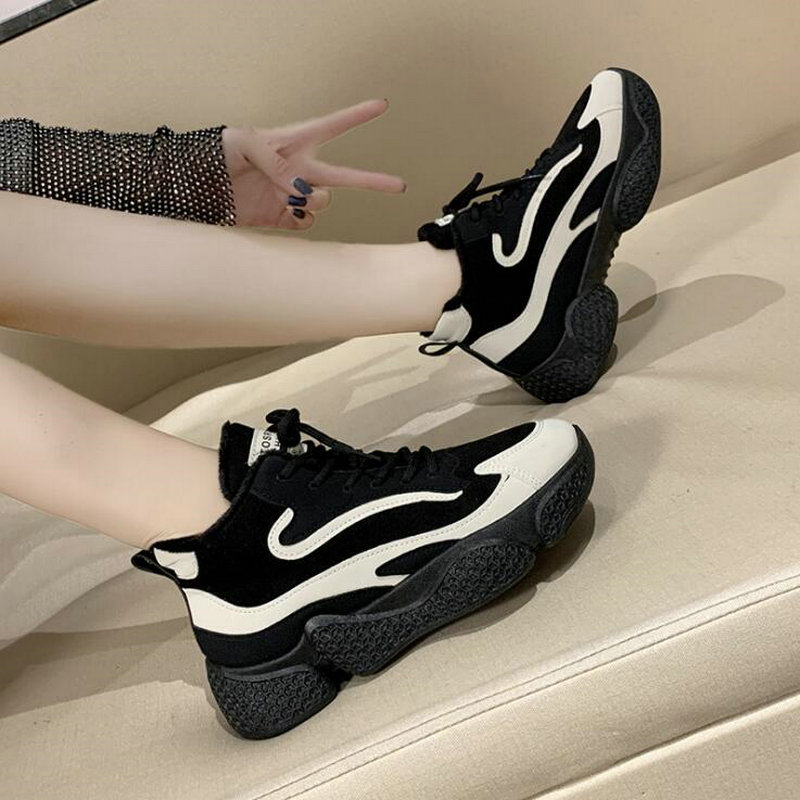 Winter New Women Keep Warm With Fur Plush Sneakers Thick Bottom High-top Shoes Outdoor Comfortable Jogging Running Shoes C35-60