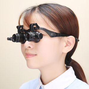 Image 2 - 2.5X 4X 6X 8X 10X 15X 20X 25X Multi Power Double LED Lights Magnifier Eye Glasses Watch Repair Loupe Jeweler Magnifying Glass
