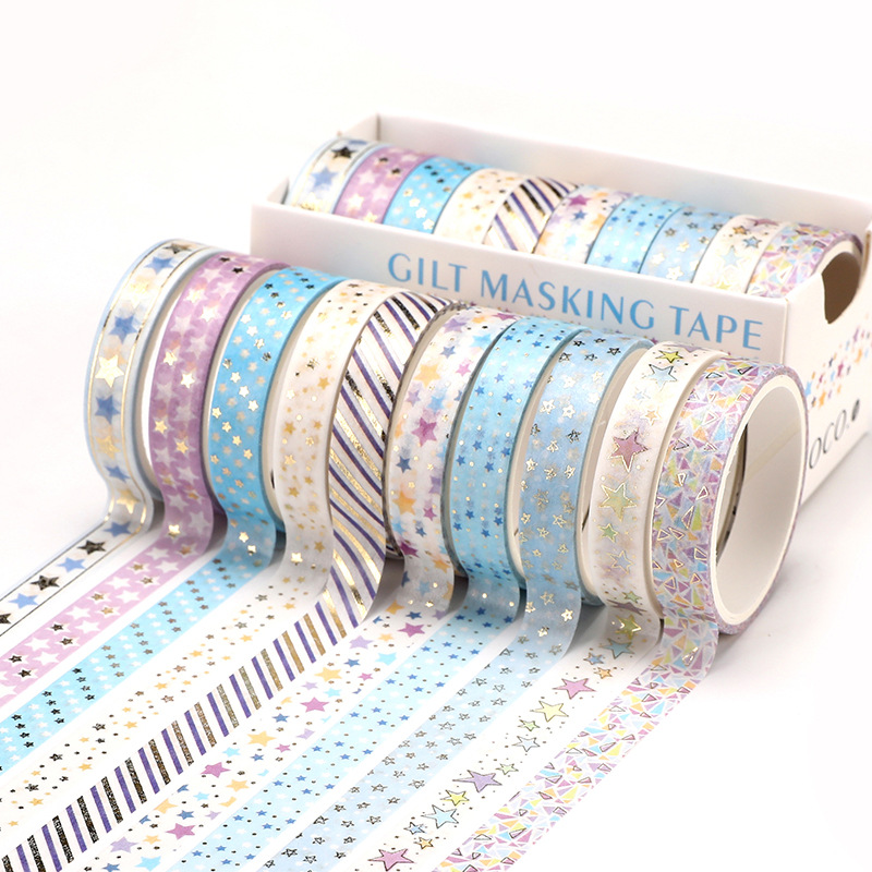 10 Pcs/Set Gold Foil Washi Tape Cute Heart Masking Tape Decorative Adhesive Tape Sticker Scrapbooking DIY  Stationery 1