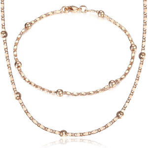 Jewelry-Set Bracelet Link-Chain Bead Gifts Rose-Gold 585 Thin Women Marina Party