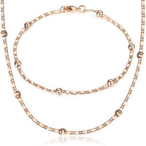Thin 585 Rose Gold Jewelry Set for Women Marina Bead Link Chain Bracelet Necklace Set Woman Party Wedding Jewelry Gifts CS09(Hong Kong,China)