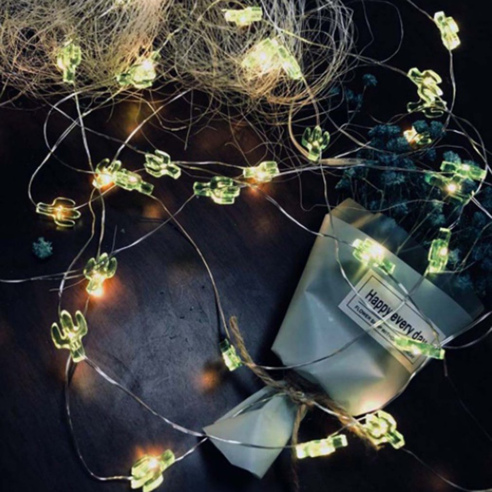 20 Led String Lights Christmas Decoration Pineapple Flamingo Green Cactus Transparent Cactus Snowflake Shape Thumb Fairy Light