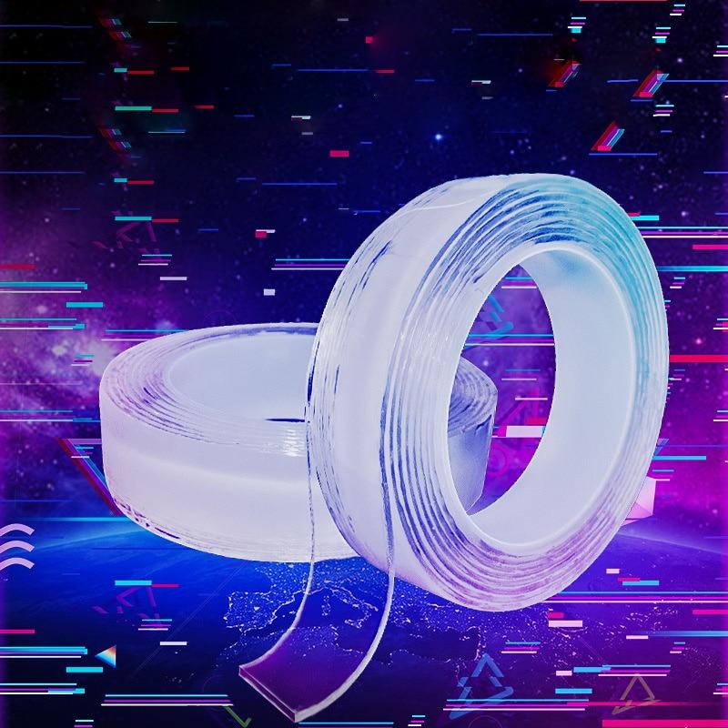 Многоразовая нано-клейкая лента, прозрачная двусторонняя съемная прозрачная лента Alien, не оставляющая следов, для домашнего использования