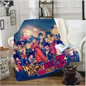 Throw Blanket 3D Printed Velvet Plush Sherpa Fleece Blanket For Sofa Microfiber Couch Cover throw blanket Dragon Ball gife 987