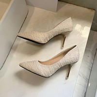 Women Elastic Fabric Pumps Dress Shoes Pointed Toe Fashion Office Sexy High Heels Thin Heel for Lady High Heel Office Y21 48