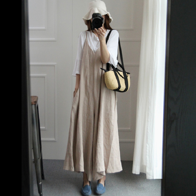 Loose Jumpsuit Linen Cotton Solid Color Sleeveless Wide Leg Jumpsuit Skirt Simple Casual No Waist Loose Wide Legs Overalls