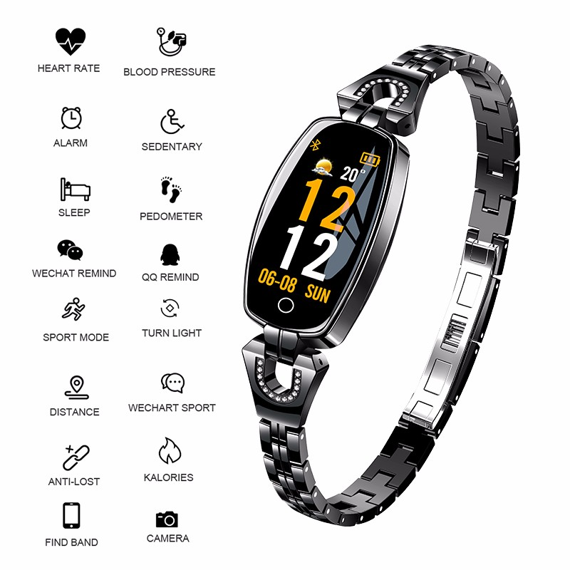 H8 Women Smart <font><b>Watch</b></font> <font><b>Blood</b></font> <font><b>Pressure</b></font> Monitor Heart Rate Fitness Bracelet Smartband Women Waterproof Sports Smart Wristband Ladies image