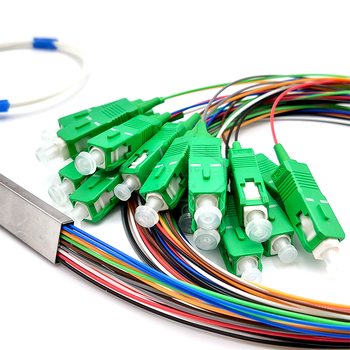 FTTH PLC Splitter 1X16 SC/APC SM 0.9mm G657A1 1m PVC Fiber Optic Splitter ftth 1 32 cassete splitter 2 0mm 1m with sc lc fc st connector plc splitter for gpon epon olt onu