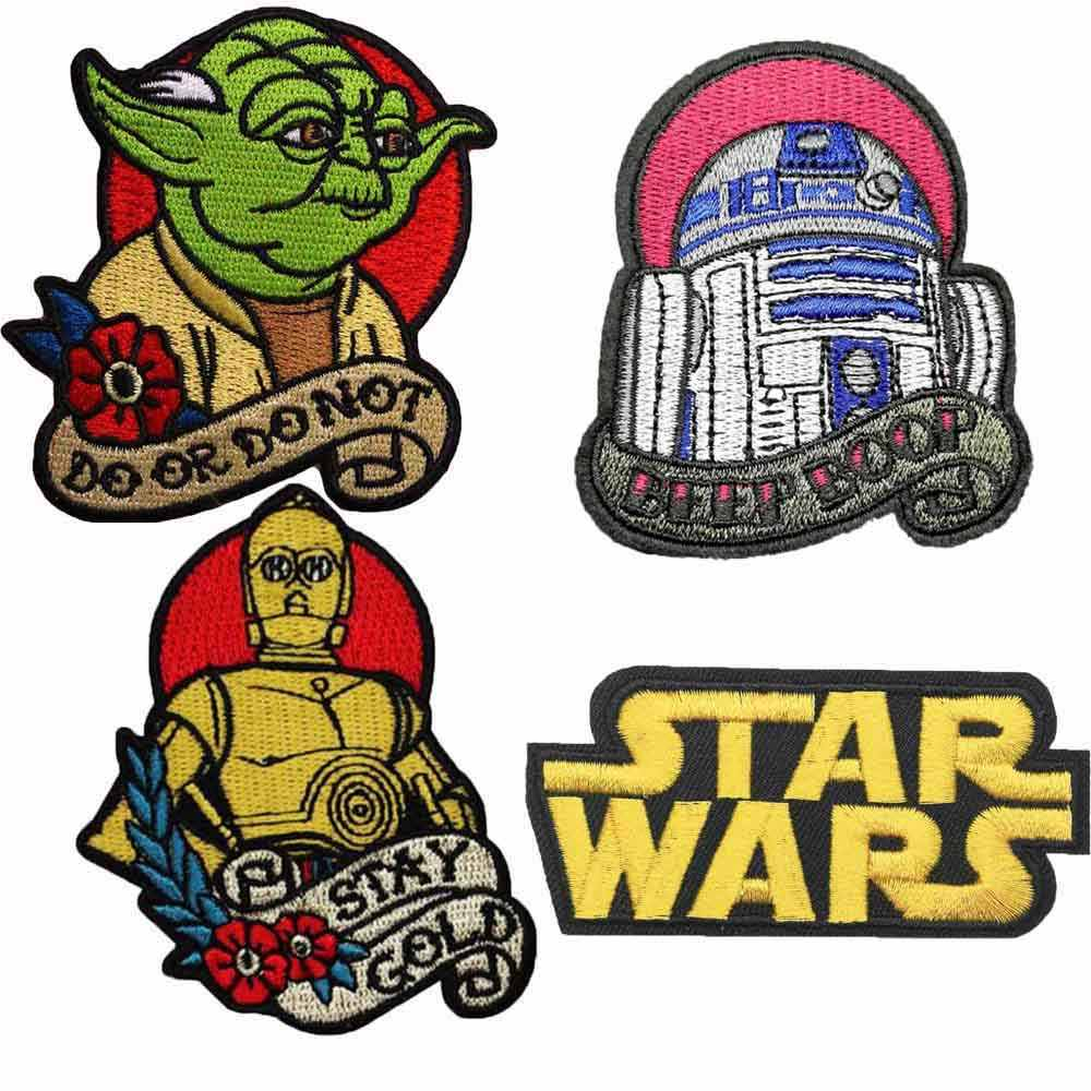 Cartoon Star Wars Yoda Storm Trooper BB8 Robot Wholesale Iron on Embroidered Cloth Clothes Patch For Clothing Girls Boys Bulk