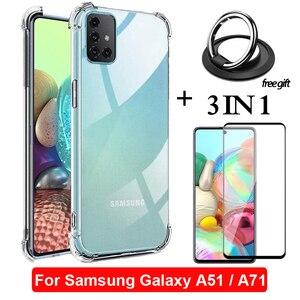 3-в-1 защитное стекло, бронь стекло Samsung A51 A71 чехол самсунг a71 чехлы для самсунг а51 Samsung Galaxy A 71 A 51 кольцом заднюю панель бампер чехол самсунг А51 ...